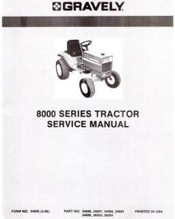 Gravely 8000 Series Tractor SERVICE manual 34836 03 85