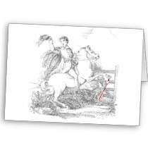 Death Causes a Fatal Riding Accident Greeting Card by Gothical