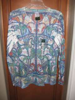 NWT Laura Ashley Active Print Multicolor T Shirt Long Sleeved Tee S M