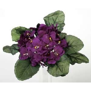 Purple African Violet Artificial Silk Flower Bushes   3