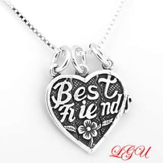 SILVER 3 WAY SPLIT BEST FRIEND HEART w/18 BOX NECKLACE