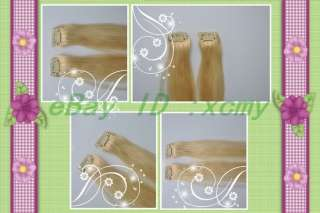 15 7pcs clip in human hair extensions #613 Light blonde
