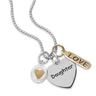16 Sterling Silver & 14K Gold Daughter Love Heart Tag Charm Necklace