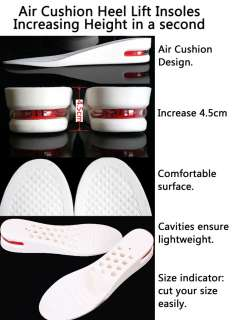 Air Cushion Light Height Increase Shoe Insoles,Womens