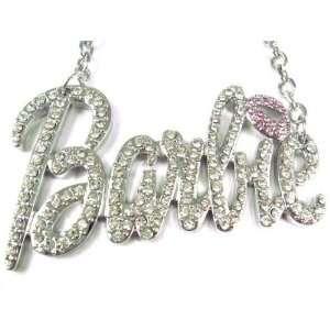 NEW NICKI MINAJ BARBIE Pendant w/18 Chain Silver Lg Clear Jewelry