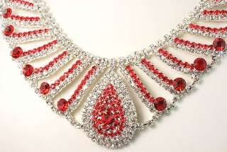 Wedding Bridal Bridesmaids Red Diamante Crystals Necklace Earrings Set