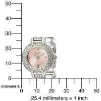 Womens Bulova 96L001 Pink Dial Crystal Watch NEW MIB