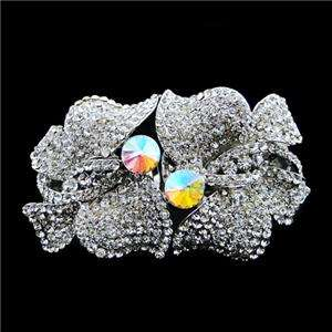 Bridal Dual Butterfly Bangle Bracelet Swarovski Crystal