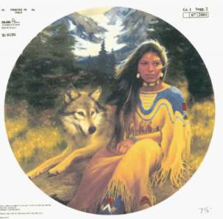 Native American Indian Woman Wolf 7 5/8 Ceramic Decal
