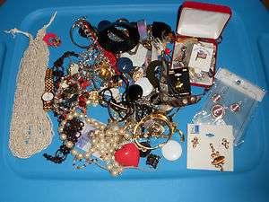 Aprox 3 Pounds New Vtg Costume Junk Jewelry Watches Crafts Wear Repair