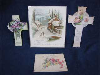 Vintage Holiday Greeting Cards Easter Cross Christmas