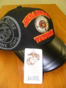 DAV DISABLED VETERAN MARINE CORPS LEATHER BILL HAT CAP