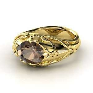 Hearts Crown Ring, Oval Smoky Quartz 18K Yellow Gold Ring Jewelry