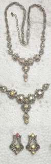 CLEAR AB RHINESTONE CRYSTAL NECKLACE & EARRINGS SET for Bridal Wedding