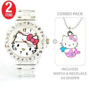 Hello Kitty Sports Quartz Wrist Watch Translucent White with Diamond