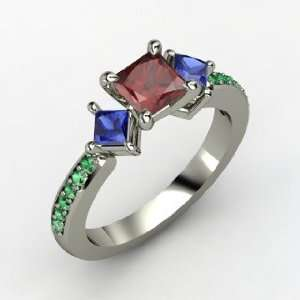 Caroline Ring, Princess Red Garnet Sterling Silver Ring with Sapphire