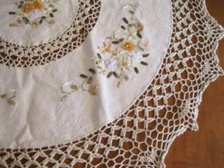 Hand Ribbon Embroidery Flower Crochet Table Cloth Round