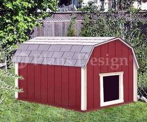Dog House Plans Gambrel / Barn Roof Style Design 90203B, Pet Size up