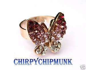 Gold Plated PURPLE Swarovski Crystal Butterfly Ring New