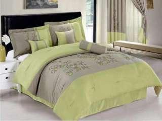 New Apple Green Gray Vine Bedding Microfiber Comforter set Full Queen