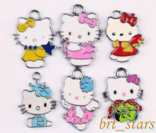 Mixed color hello kitty cats Pendants Charms 20~26mm TS141