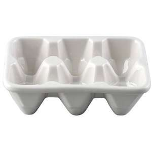 White Ceramic Egg Holder Carton Shape for 6 Eggs  Kitchen