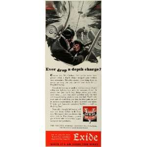 1943 Ad Exide Electric Storage Battery WWII Civilian
