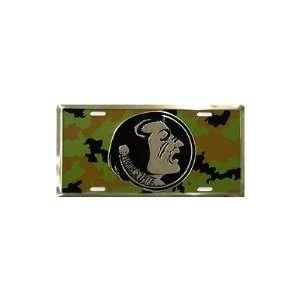 Florida State University Camo Chrome NCAA Tin License Plate Home