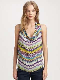 Haute Hippie   Ikat Print Silk Cowlneck Top