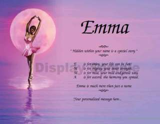 Ballet Dancer Personalized Name Poem Dance Recital Gift Idea