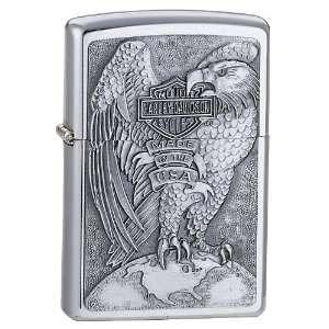 Zippo Harley Davidson Full Faced Eagle Emblem Lighter (Silver, 5 1/2 x