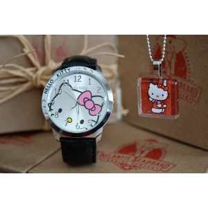 Hello Kitty Classic Ladies Quartz Wrist Watch Black with Red Hello