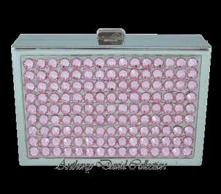 Ladies Mirrored Pill Box Trinket Box with Swarovski Crystals   Pink