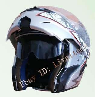 DOT Silver Modular Flip Up Motorcycle Helmet S M L XL