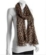 Kashmere camel leopard printed cashmere silk scarf style# 311962302