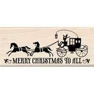 Inkadinkado rubber stamp Christmas Horse Buggy Merry