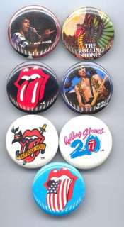 ROLLING STONES 1982 83 Pinback Buttons Pins Badges 7 Different