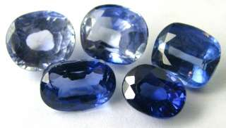 38Ct 5pc Lot Synthetic Blue Sapphire Oval Faceted Gems Wholesale