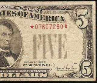 1928 E $5 DOLLAR BILL BIG RED STAR UNITED STATES LEGAL TENDER NOTE Fr