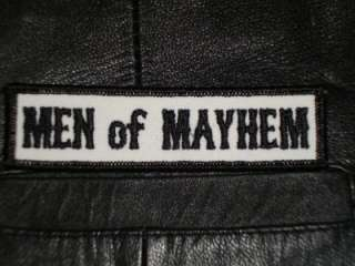 MEN OF MAYHEM MOTORCYCLE ANARCHY SONS OF BIKER PATCH BW