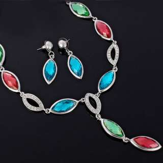 WEDDING Jewelry Set Necklace Earrings 18k Gold Plated Multi Color