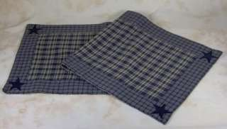 Country Navy Tan Plaid Applique Star Woven Table Runner 13x36