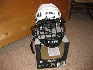 CCM 652 Tacks Hockey Helmet with cage, White SR SMALL NWT