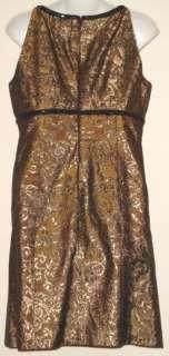 JONES NEW YORK Bronze & Black Brocade Beaded Dress   Sz 10