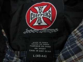 Mens JESSE JAMES WEST COAST CHOPPERS Plaid Cotton Pearl Snap Shirt