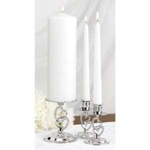 Rhinestone Double Heart Wedding Unity Candle Stands