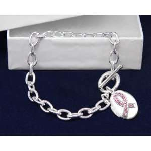 Breast Cancer Ribbon Locket Silver Bracelet Awareness SUpport Pink