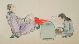 Antique 19C. Japanese Laid Paper Watercolor Paintings